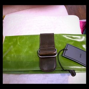 """Vegan leather """"Harper"""" foldover clutch. Tags on."""